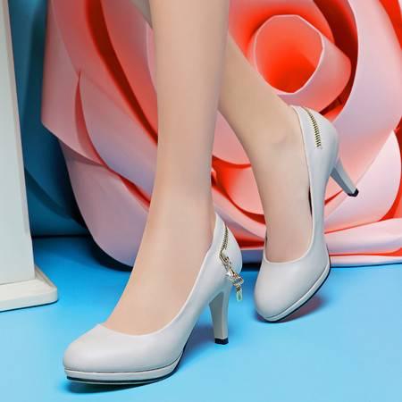 盾狐OL优雅白领工作鞋高跟单鞋女防水台粗跟时尚女鞋2016春季新款