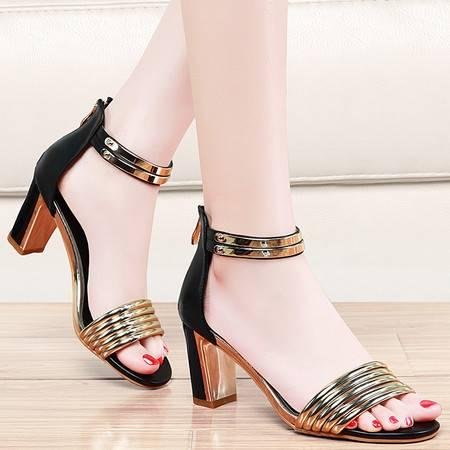 盾狐夏季新款粗跟凉鞋女士夏天时装高跟女鞋子性感欧美罗马鞋1219