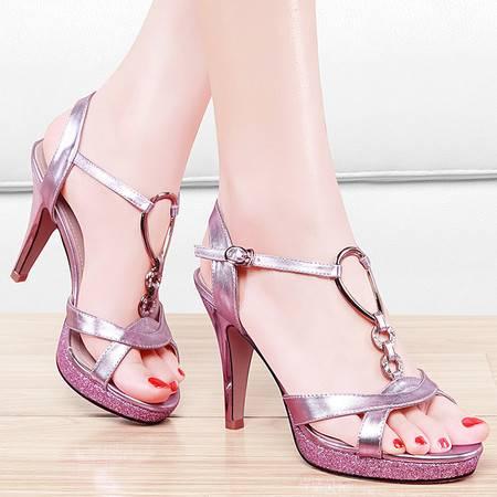 盾狐夏季欧美高跟凉鞋女细跟鱼嘴鞋潮罗马凉鞋防水台女鞋子夏