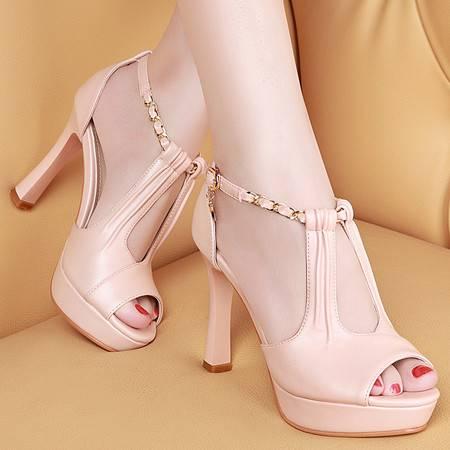 盾狐高跟凉鞋女夏季欧美女鞋细跟鱼嘴女士罗马鞋防水台高跟鞋
