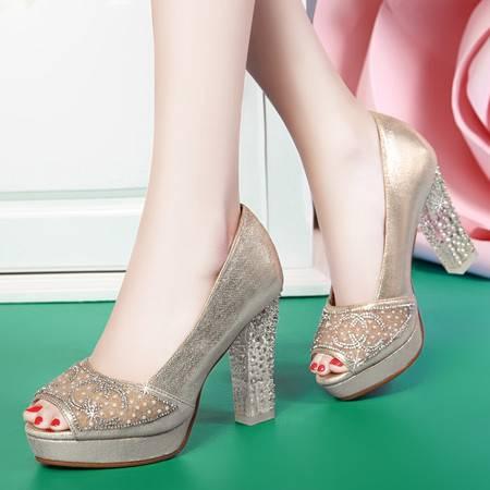 盾狐女鞋春季单鞋防水台高跟鞋浅口套脚低帮鞋粗跟鞋子女凉鞋6991