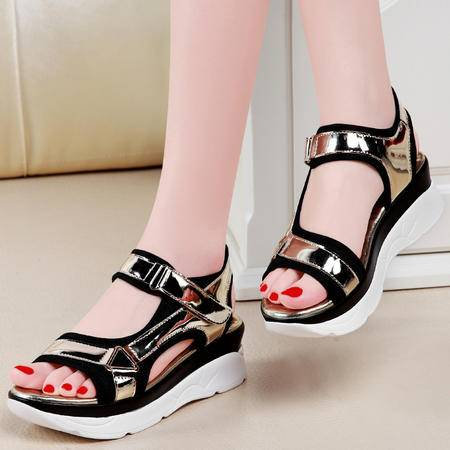 盾狐平底凉鞋女士夏季新款时尚学生韩版厚底松糕中跟女鞋子潮6199