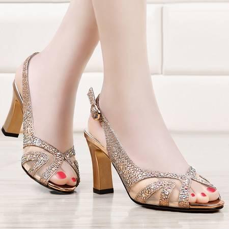 盾狐女士高跟凉鞋夏季镂空时尚水钻性感百搭粗跟鱼嘴女鞋子潮2216