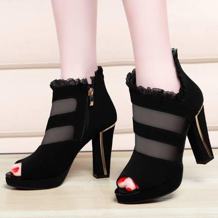 金丝兔鱼嘴凉鞋女春夏季新款蕾丝网纱舒适高跟鞋时尚百搭 粗跟女鞋子