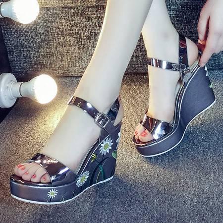 U&X坡跟厚底凉鞋女夏松糕底韩国夏天鞋子新款露趾学生女鞋潮针线花卉坡跟厚底露趾百搭出街百搭凉鞋