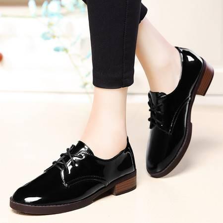 盾狐粗跟单鞋女系带英伦皮鞋时尚休闲女鞋复古工作鞋春季新款
