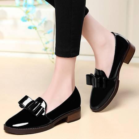 盾狐女士鞋子夏季新款女鞋浅口蝴蝶结粗跟单鞋中跟韩版百搭夏天潮