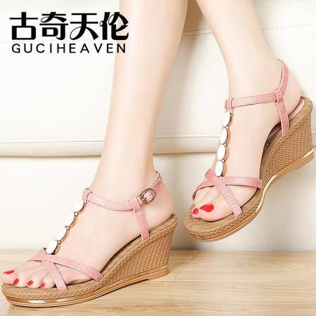 古奇天伦坡跟凉鞋夏季新款松糕露趾厚底高跟百搭女鞋夏天鞋子