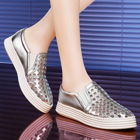 莱卡金顿春季新款乐福鞋女鞋夏季洞洞鞋单鞋平底鞋韩版休闲鞋厚底鞋子