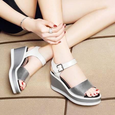 莱卡金顿坡跟凉鞋女夏天松糕厚底夏季新款韩版百搭平底学生高跟女鞋子