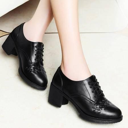 莱卡金顿粗跟单鞋女春秋季新款系带中跟女鞋欧美妈妈圆头皮鞋
