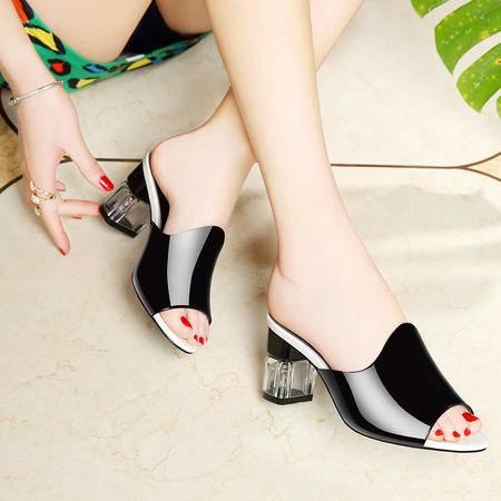 莱卡金顿高跟拖鞋女夏新款时尚韩版百搭凉拖鞋中跟凉鞋女鞋室外潮外穿
