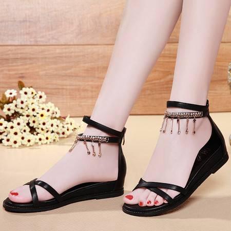 盾狐平底凉鞋女夏季2016新款波西米亚百搭水钻流苏夏天平跟女鞋子