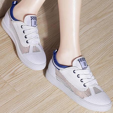 百年纪念夏季白色帆布鞋女平跟学生低帮女鞋韩版休闲鞋子夏天平底鞋百搭潮