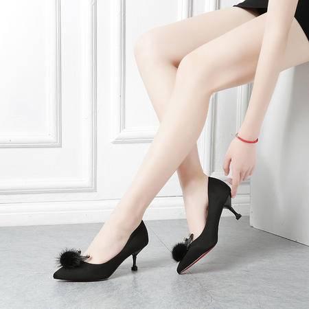 王菲儿 16135-1 时尚尖头百搭高跟鞋气质女鞋单鞋