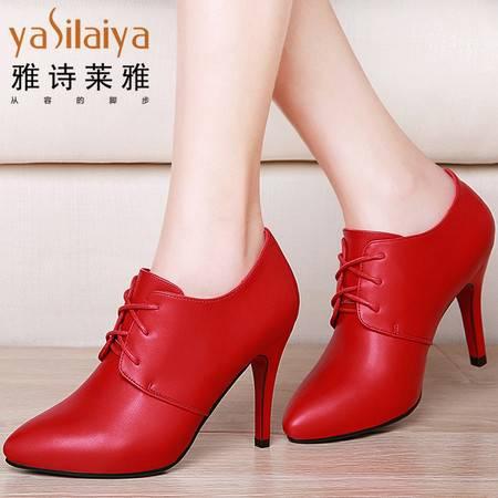 雅诗莱雅2016春秋新款女鞋子尖头高跟鞋女细跟单鞋系带英伦风皮鞋
