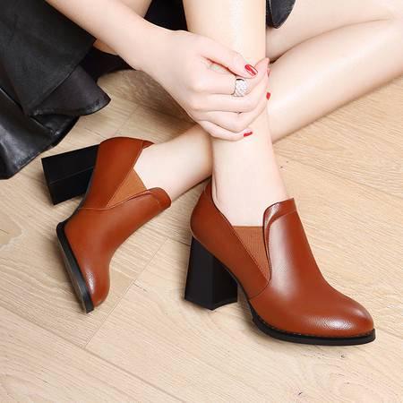 莱卡金顿粗跟单鞋女士高跟女鞋子2016秋季新款圆头休闲皮鞋中跟工作春秋鞋