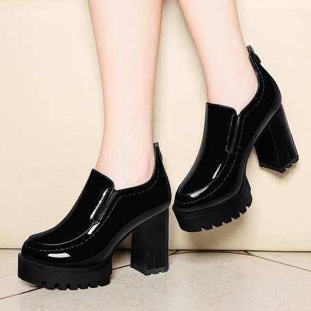莱卡金顿6127秋冬新款镜面圆头粗跟单鞋女高跟女鞋深口防水台女鞋