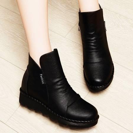 莱卡金顿2016新款春秋季雪地靴女短筒短靴子短绒马丁靴女英伦风平底内增高女鞋