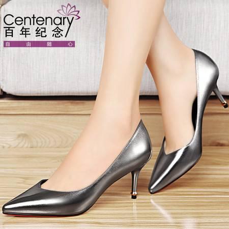 百年纪念时尚高跟鞋2016春季新款单鞋女细跟尖头女鞋子欧美工作鞋