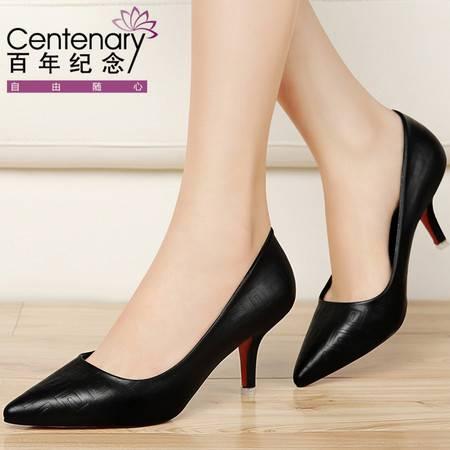 百年纪念2016秋季新款女鞋子尖头单鞋中跟女士皮鞋黑色高跟鞋细跟职业秋鞋