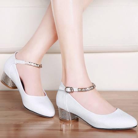 guciheaven/古奇天伦 新款春秋季女鞋尖头单鞋女士中跟百搭粗跟鞋子休闲鞋低帮鞋