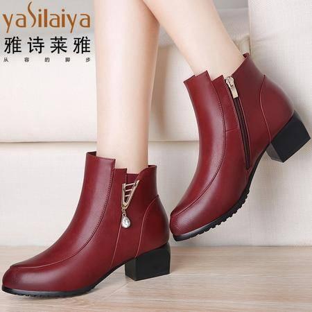 雅诗莱雅秋靴子女2016短靴冬季女鞋裸靴女粗跟中跟马丁靴英伦风圆头棉鞋女