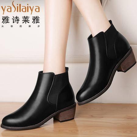 雅诗莱雅中跟短靴女2016秋冬季新款粗跟单靴圆头女鞋子马丁靴时尚加绒踝靴