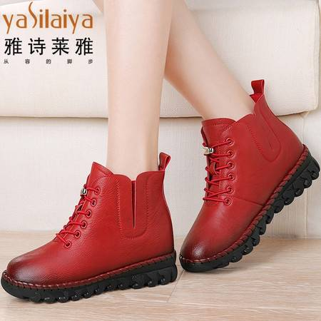 雅诗莱雅平底短靴女鞋2016秋冬新款加绒保暖坡跟马丁靴欧美时尚潮系带女靴