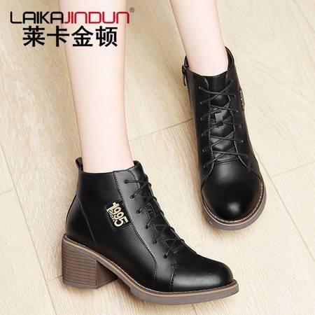 莱卡金顿粗跟短靴女士加绒中跟二棉鞋英伦风马丁靴潮女靴子秋冬季高跟女鞋