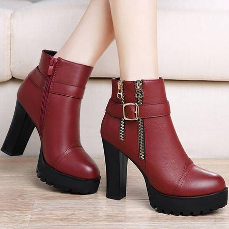 guciheaven/古奇天伦 女鞋冬季新款加绒马丁靴女短靴粗跟高跟鞋防水台短筒女靴子