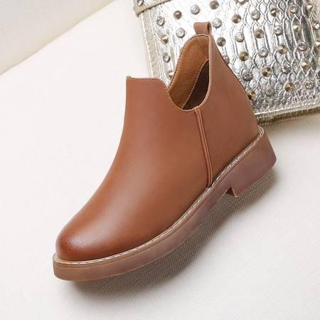GUCIHEAVEN/古奇天伦 内增高马丁靴2016春秋季单靴新款中跟女靴子短靴裸靴女鞋