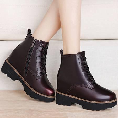 guciheaven/古奇天伦 英伦风女靴秋冬季防水台女鞋厚底内增高短靴中跟高帮马丁靴