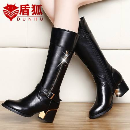 盾狐粗跟马丁靴英伦风中筒女靴子2016新款秋冬季中跟女鞋女士妈妈皮靴