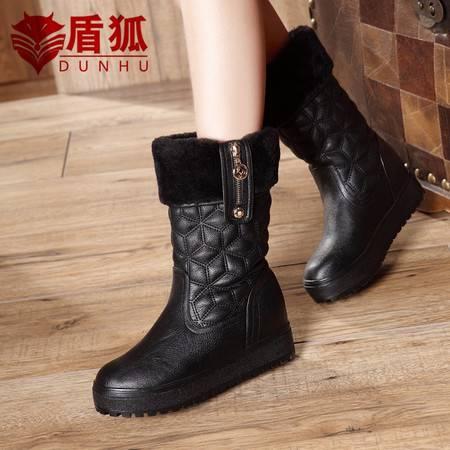 盾狐雪地靴短靴2016新款秋冬毛毛鞋加绒棉鞋棉靴厚底加厚女鞋子中筒靴