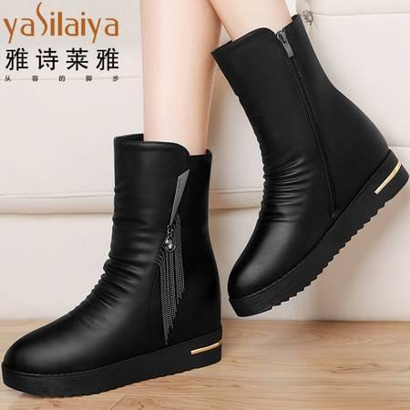 雅诗莱雅中筒靴女靴子平底2016新款秋冬季内增高女鞋加绒冬鞋坡跟短靴女士