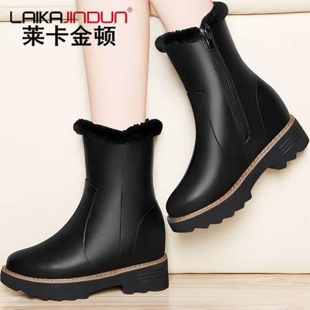 莱卡金顿内增高雪地靴棉靴女冬季保暖加绒高跟短靴粗跟厚底女靴子中筒靴潮