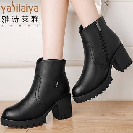 雅诗莱雅粗跟短靴女士复古马丁靴2016新款秋冬季高跟女鞋加绒厚底女靴子潮