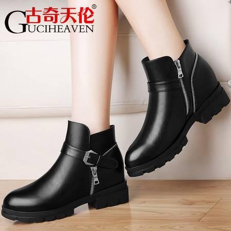 古奇天伦英伦风女士马丁靴女加绒短靴2016秋冬季新款中跟女鞋子英伦风女靴