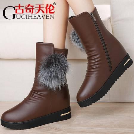 古奇天伦中筒靴子2016新款秋冬季女鞋内增高加绒保暖棉鞋厚底女靴