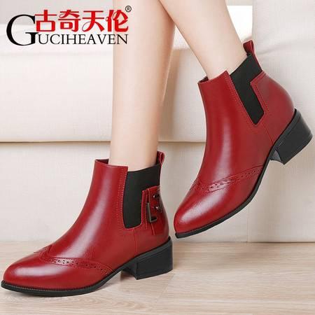 古奇天伦女鞋秋鞋2016新款加绒马丁靴秋冬季粗跟短靴女中跟女靴子