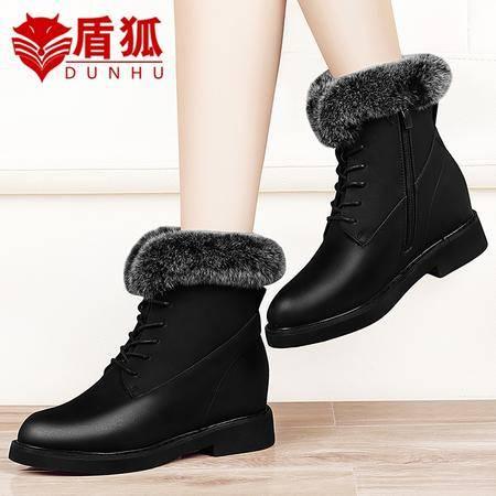 盾狐内增高女靴子平底短靴女粗跟马丁靴英伦风2016秋冬季雪地靴加绒棉鞋