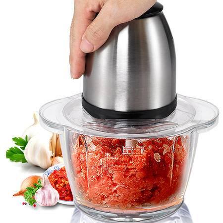 绞肉机家用电动不锈钢碎肉机 2L搅肉打肉馅切菜绞菜蒜泥机W802 y