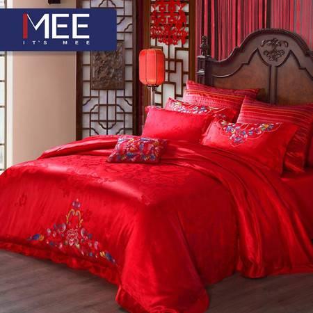 梦洁出品MEE 婚庆四件套大红纯棉结婚床单被套婚庆床品 福禄牡丹 1.5M