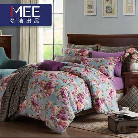 梦洁出品MEE磨绒四件套秋冬季床上用品床单被套1.8m 赫敏花园 蓝色