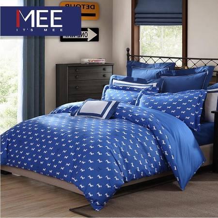 梦洁出品 MEE 全棉印花全棉床上四件套床单被套1.5m 贵族汪