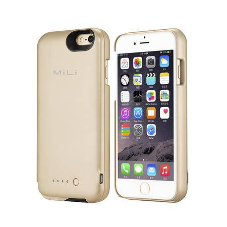 米力 iphone6 6s背夹电池无下巴超薄便携MFI认证充电宝 金色