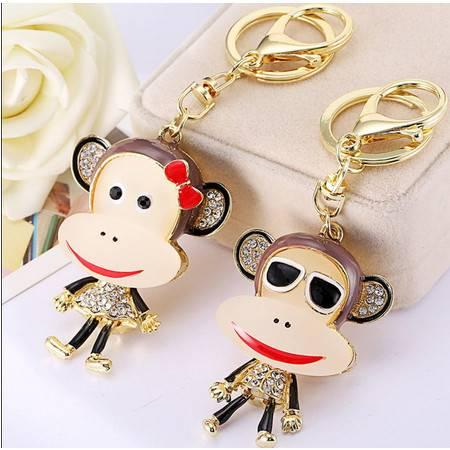 一对大嘴猴合金镶钻韩版情侣钥匙扣包汽车钥匙扣挂件创意礼品 K700