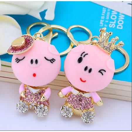 一对创意情侣猪合金镶钻流行韩版钥匙包包汽车钥匙扣挂件K705