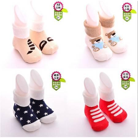 秋冬新款0-3岁全棉儿童袜毛圈袜子婴儿毛巾袜子宝宝袜